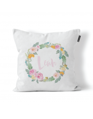 Personalised Flower Wreath Scatter Cushion