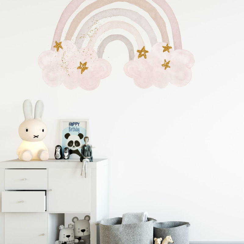 Pink Watercolour Large Rainbow Wall Decal