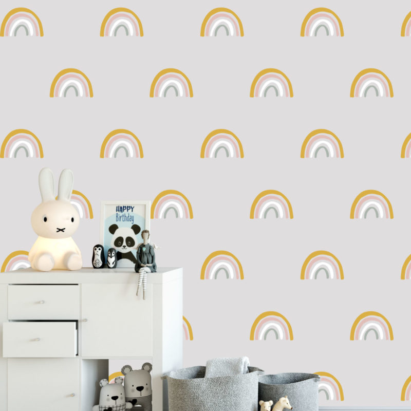 Pink & Mustard Rainbow Wall Decals