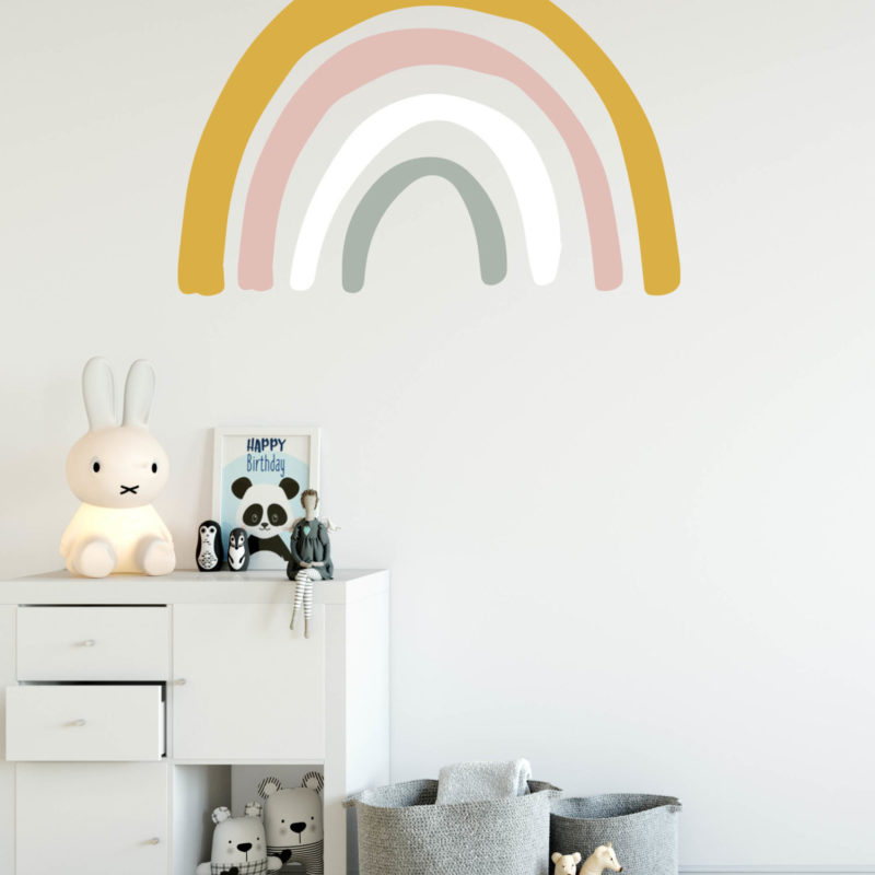 Mustard & Pink Large Rainbow Wall Decal