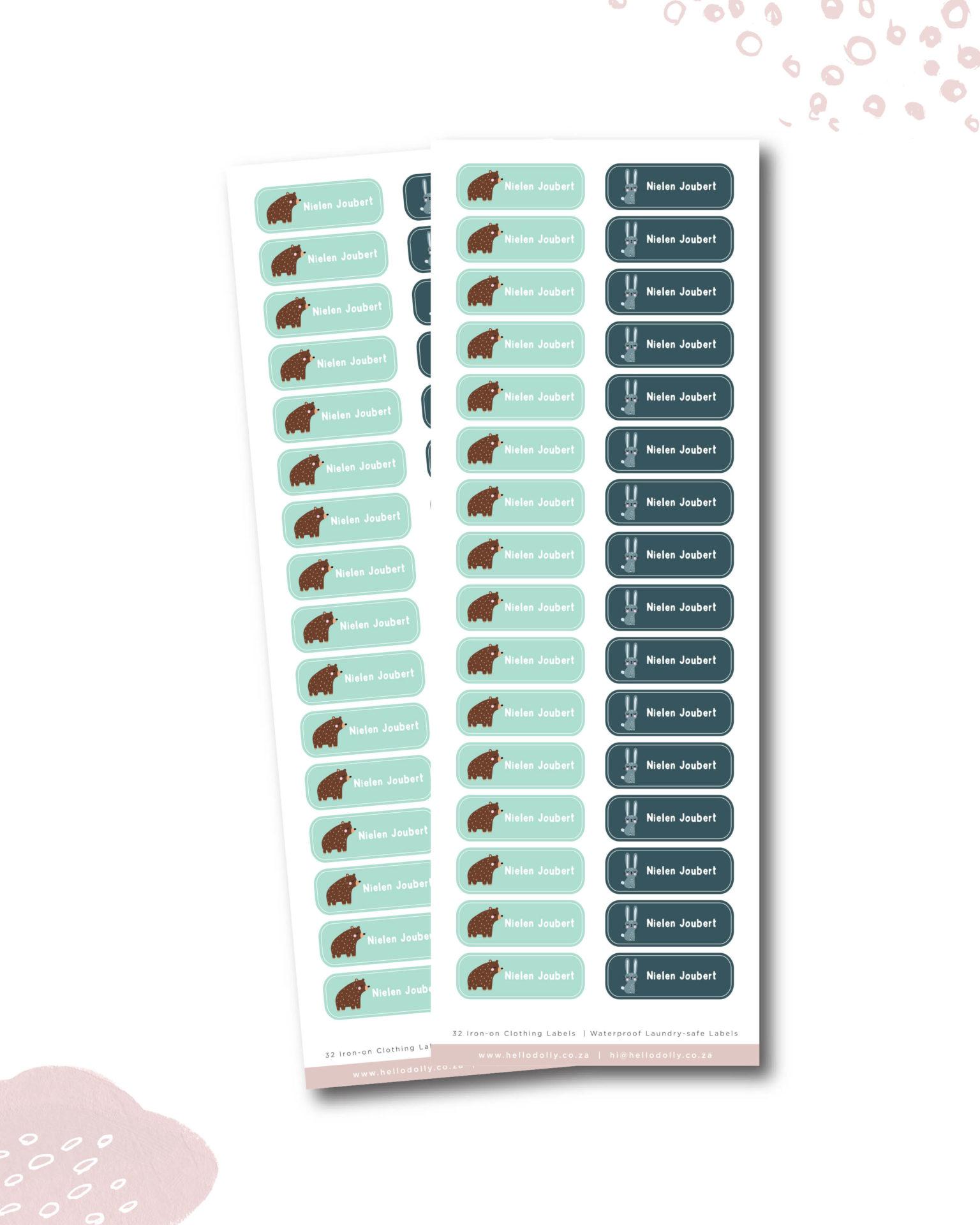 Woodland Animals Iron-On Clothing Labels